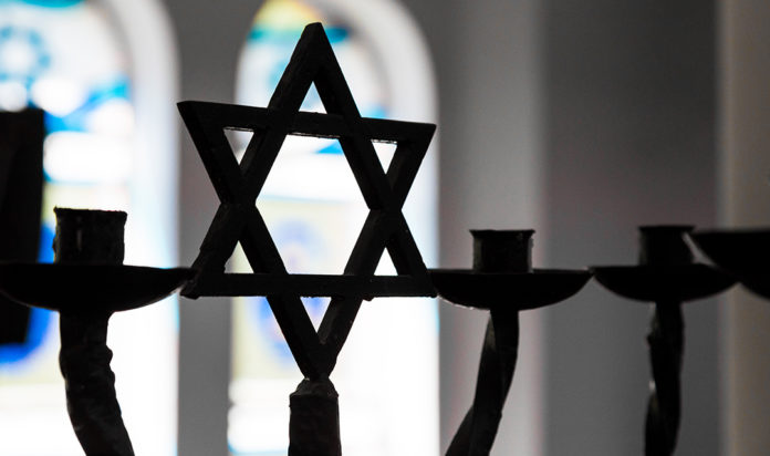 Close up of Star of David silhouette inside Jewish Synagogue