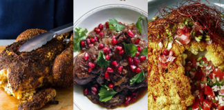 Roast chicken, pomegranate chicken, and roasted cauliflower