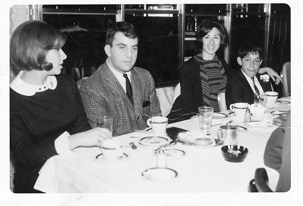 """Morty""'s bar mitzvah lunch, 1966, with brother Tony and his wife Marian, and cousin Pat Small."