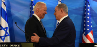 Then-Vice President Joe Biden, left, and Israeli Prime Minister Benjamin Netanyahu