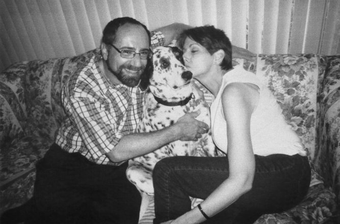 Jill and Mitchell Solomon and their late dog, Danny