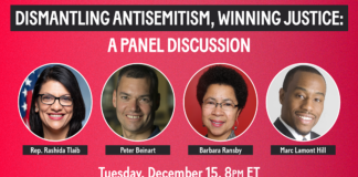 """A flyer for the """"Dismantling Antisemitism"""" panel featuring Rep. Tlaib."""