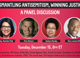 "A flyer for the ""Dismantling Antisemitism"" panel featuring Rep. Tlaib."