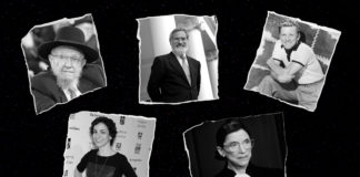 Clockwise from top left: Rabbi Dovid Feinstein, Rabbi Jonathan Sacks, Kirk Douglas, Ruth Bader Ginsburg and Catie Lazarus.