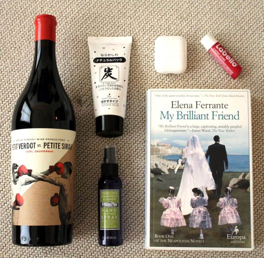 Pack only the essentials (wine, books, hand sanitizer)