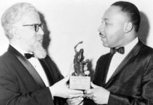 Rabbi Abraham Joshua Heschel presenting the Judaism and World Peace Award to Martin Luther King Jr., Dec. 7, 1965