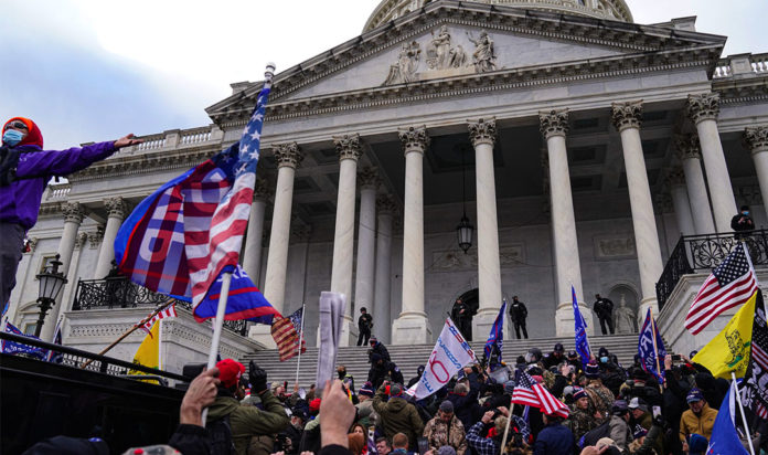 A view of the crowds outside the U.S. Capitol for the