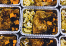 One of the Fresh n ready meals: roasted chicken, roasted cauliflower and butternut squash.