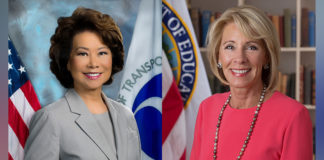 Elaine Chao (left) and Betsy DeVos (right).