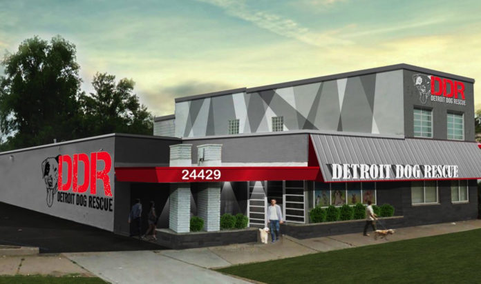A rendering of the new Detroit Dog Rescue in Detroit's Old Redford.