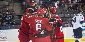 Eric Israel celebrates with Rapid City Rush teammates Dec. 11 after a goal against the Utah Grizzlies.