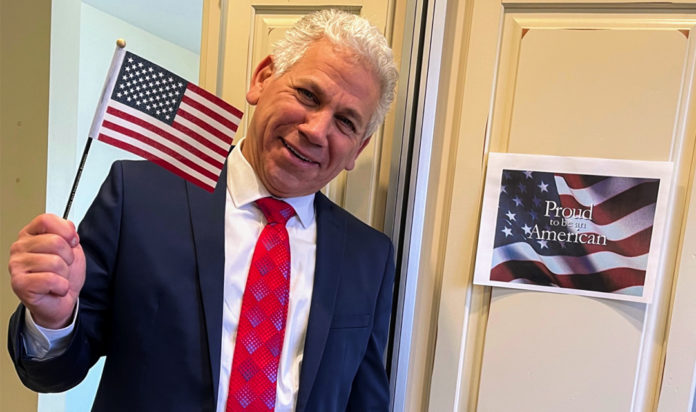 Windsor-native Jeff Dell after being naturalized as a U.S. citizen on December 11, 2020.