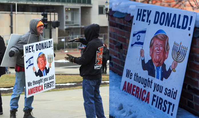 Left: An unidentified man brings an antisemitic sign to the Lansing protests on Jan. 17, 2021. Right: The same sign was spotted at a weekly anti-Israel protest held outside Beth Israel Congregation in Ann Arbor, February 2020.