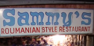 A screenshot of the restaurant sign from a 2015 video.