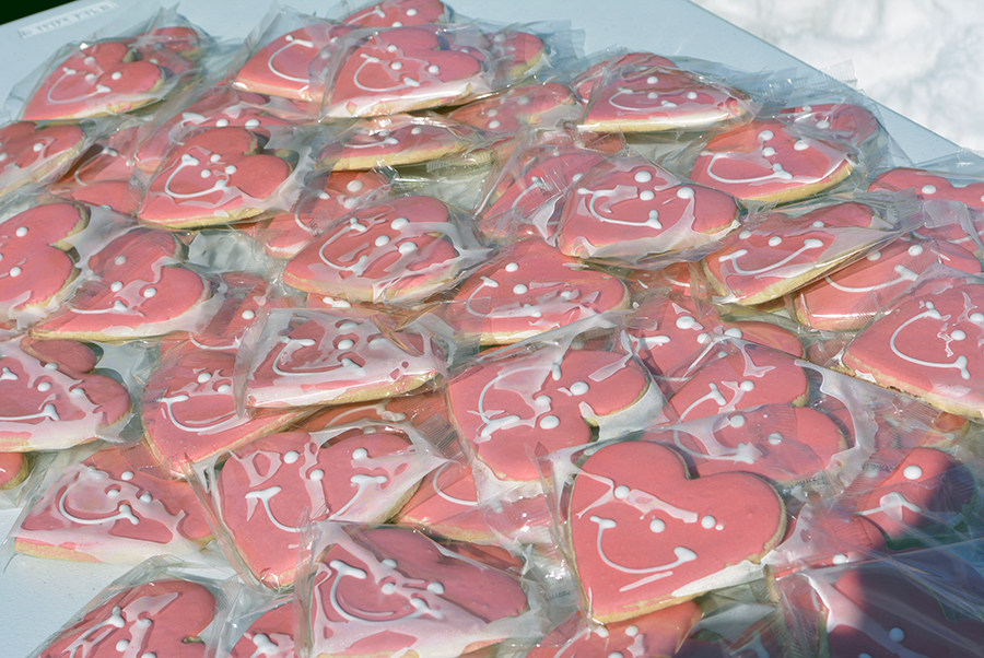 Snacks, like these heart-shaped cookies, were in plentiful supply to distribute at the Valentine's Day Drive-By.
