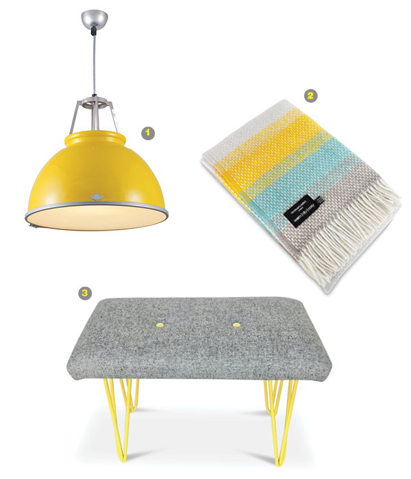 1. Original BTC brand light fixture.  2. Even subtle splashes of color can evoke the emotions of the Pantone combination, seen here in a throw from Heating-and-plumbing.com.  3. Harris Tweed bench with yellow hairpin legs.