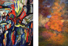 "Steve Rubin's ""Vivid"" (left) and Susan Shlom's The Diva (right) are both on display at the Birmingham Bloomfield Art Center."