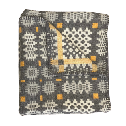 'Carreg' Grey Yellow and White Tapestry Throw