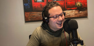 """Brandon Rothenberg records an episode of his """"Motor City Hardball"""" podcast."""