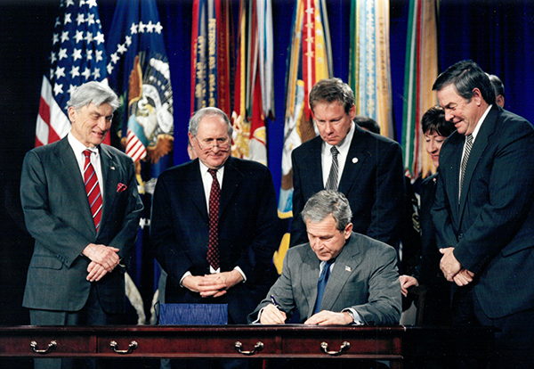 Signing ceremony with President George W. Bush