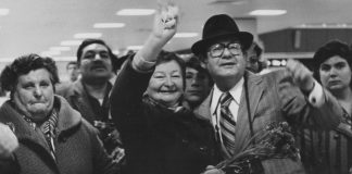 Families welcome their Soviet relatives to Detroit in this historical photo from JFS.