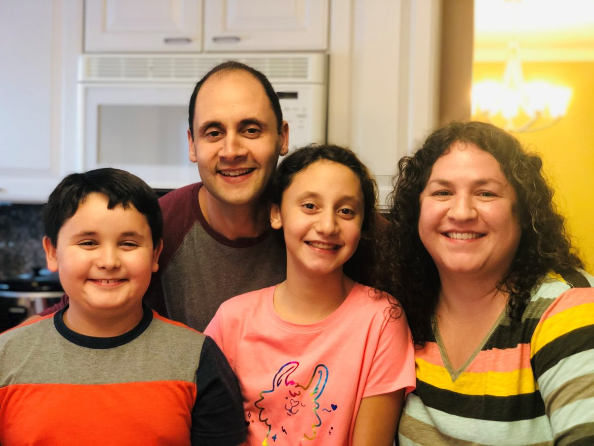 Shayna Levin, husband, Jeff, with Andrew and Hannah
