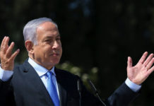 Israeli Prime Minister Benjamin Netanyahu, shown here at a memorial for Joseph Trumpeldor in Tel-Hai on February 23, 2021.