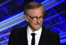 Director Steven Spielberg speaks at the Academy Awards in Hollywood, Feb. 9, 2020.
