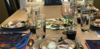 The Levin family's seder table last year