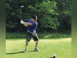 Jeff Vieder tees off at the Links of Novi during the 2019 B'nai B'rith golf league season.