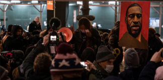 Protesters rally and march in Bryant Park, N.Y., on the first day of the trial of Minneapolis police officer Derek Chauvin, accused of killing African-American George Floyd on May 25, 2020.