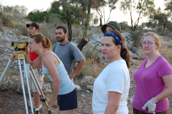 Students learn surveying at the site of Khirbet Qeiyafa, 2009