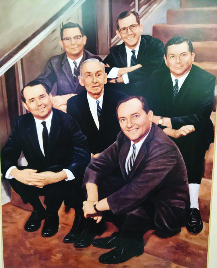 """David Tobias Nederlander and his five sons. Front row: Joseph, father David and James """"Jimmy."""" Second row: Harry, Robert and Frederick """"Freddie."""""""