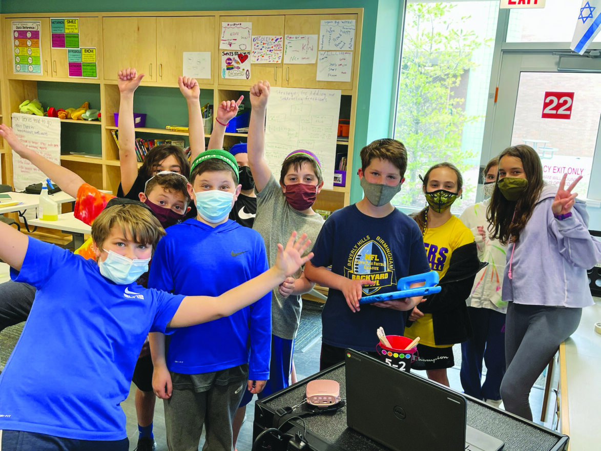 """Fifth graders at Hillel competed in a digital """"Battle of the Books"""" last month."""