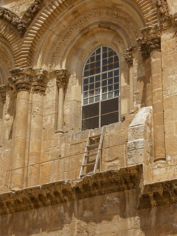 The immovable ladder at the Church of the Holy Sepulchre.