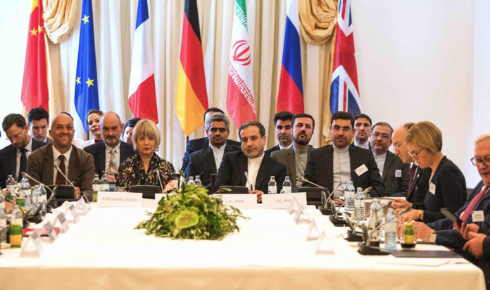 Representatives of the E3+2 group (China, France, Germany, Russia, United Kingdom) and Iran meet in Vienna, Austria, July 28, 2019.