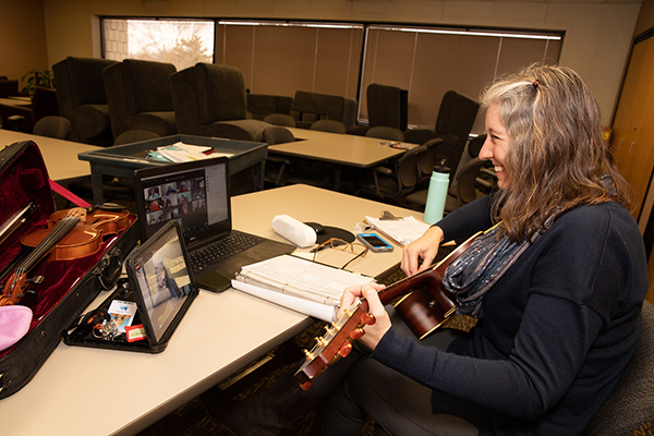 Julie Verriest leads a class on Zoom at the Brown Center.