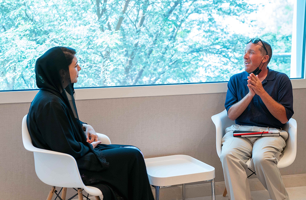Justice Bernstein meeting with her excellency Reem Al Hashimy.