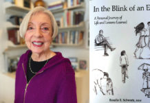 "Rosalie Schwartz (left) and her book, ""In the Blink of an Eye: A Personal Journey of Life and Lessons Learned"" (right)."