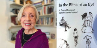 """Rosalie Schwartz (left) and her book, """"In the Blink of an Eye: A Personal Journey of Life and Lessons Learned"""" (right)."""