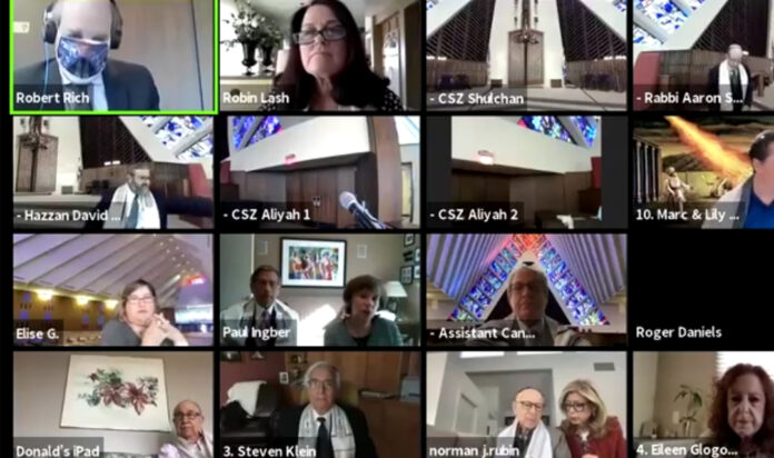 A Shabbat service at Congregation Shaarey Zedek, available for those in person and on Zoom.