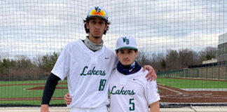 Josh Weiss (5-8) and his good friend Matt Fountain (6-7) each stood tall for the West Bloomfield baseball team in the Lakers' season-opening win over Lincoln Park.