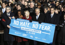 From right: Rep. Jerrold Nadler, Gov. Andrew Cuomo, Sen. Chuck Schumer, Mayor Bill de Blasio and Sen. Kirsten Gillibrand hold a banner at the march against anti-Semitism in New York City, Jan. 5, 2020. (John Lamparski/Echoes Wire/Barcroft Media via Getty Images) From right: Rep. Jerrold Nadler, Gov. Andrew Cuomo, Sen. Chuck Schumer, Mayor Bill de Blasio and Sen. Kirsten Gillibrand hold a banner at the march against anti-Semitism in New York City, Jan. 5, 2020.