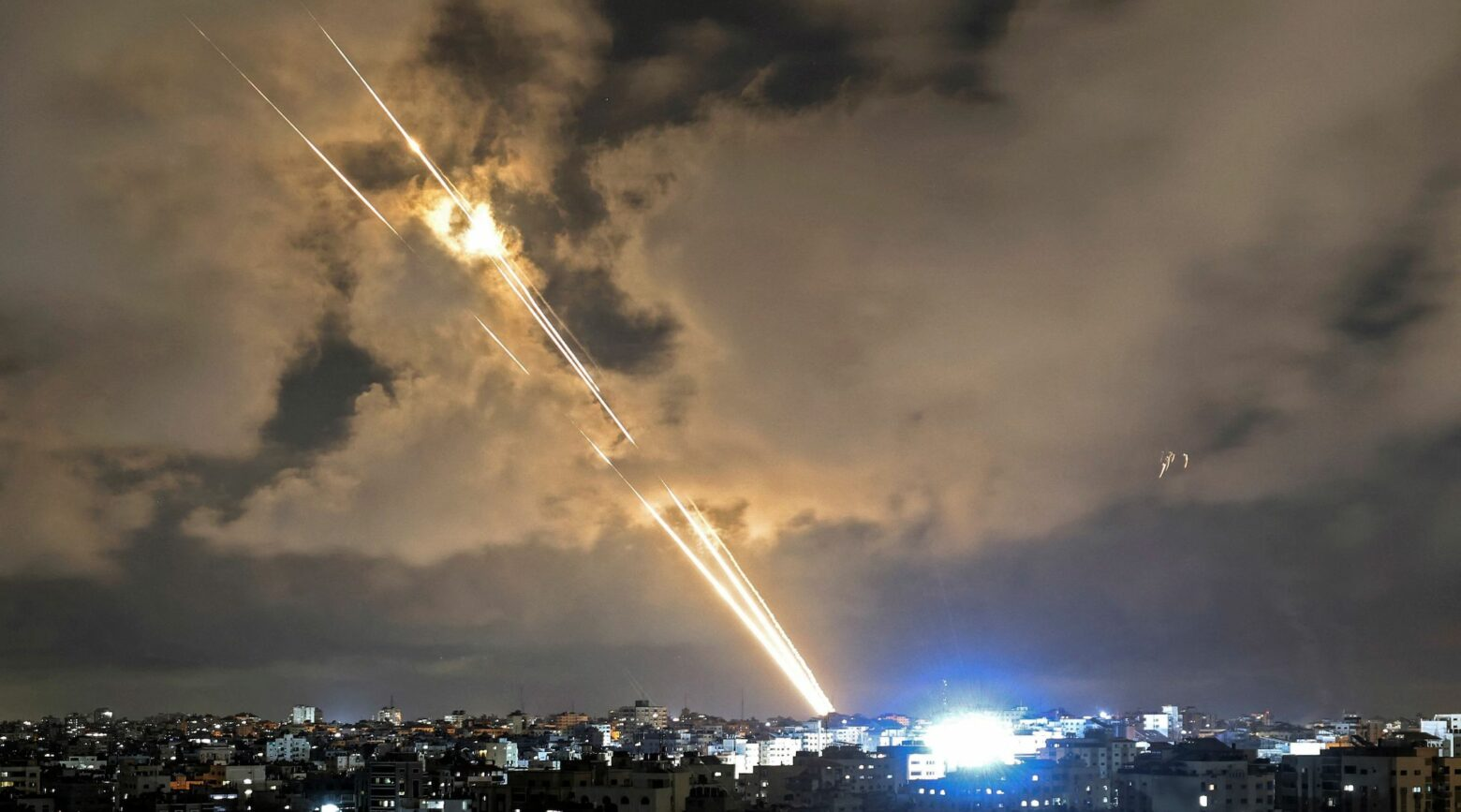 Rockets are launched towards Israel from Gaza City on May 20, 2021.