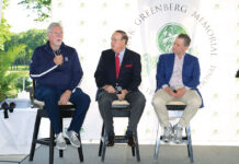 Former Detroit Tigers pitcher Jack Morris (left) answers a question while broadcaster George Blaha and sports panel emcee Jeremy Schapp listen during the 2019 Hank Greenberg Memorial Golf and Tennis Invitational.