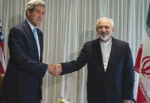 U.S. Secretary of State John Kerry meets with Iranian Foreign Minister Javad Zarif in Geneva, Switzerland, in 2015.