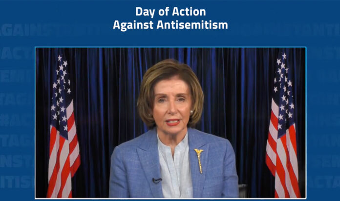 House Speaker Nancy Pelosi speaks at a virtual rally to combat antisemitism on May 27, 2021.