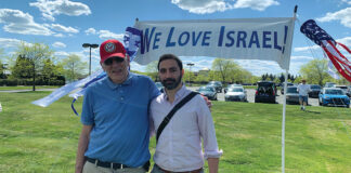 LEFT: Eugene Greenstein and Kobi Erez. RIGHT: Scenes from the May 14 Rally for Israel