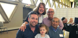 Honoree, Milt Zussman of Longboat Key, Fla., is surrounded by his daughter-in-law and son, Julie and Rick Zussman of Huntington Woods, their son Adam Zussman of Bloomfield Hills and his daughter Delaney, then 2, at the 2019 Oldest Jewish Americans Brunch.