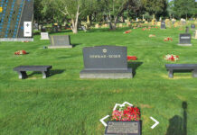 A cemetery 360 image that allows viewers to read grave markers.
